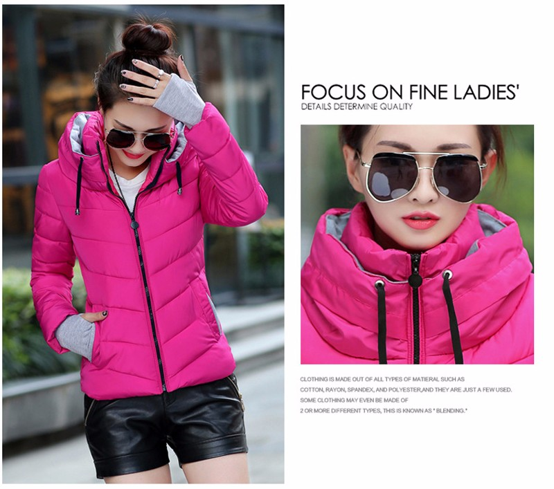 Winter Jacket Women Parkas Thicken Outerwear solid hooded Coats Short 33
