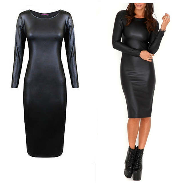 placeholder M-XXL NEW 2016 Women Long Sleeve Party Dress Leather Look  Bodycon Dress Sexy Club 067d2adc10e0
