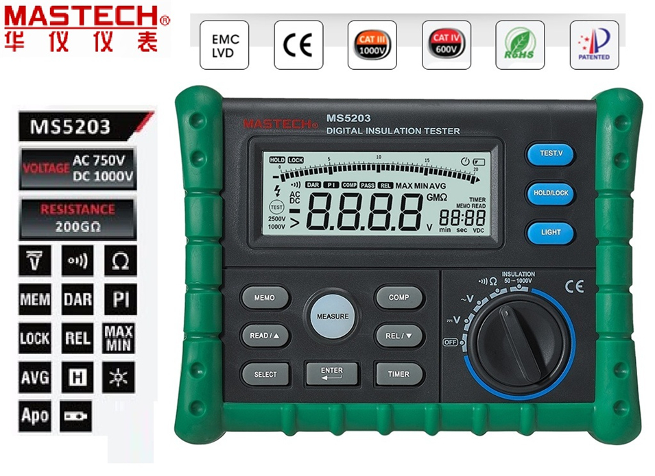 Mastech MS5203 Digital Megger Insulation Tester Resistance Meter Tecrep 10G 1000V AC/DC Voltage Continuity Electrical Test benetech gm3125 energy saving portable 12v 1 4ma voltage overload insulation resistance tester