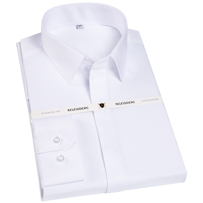 New High Grade Covered Button French Front Square Collar Mens Long Sleeved Non-iron Easy Care White /blue Business Dress Shirts