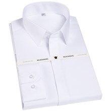Novo alto grau coberto botão francês frente gola quadrada dos homens de manga comprida não ferro fácil cuidado branco/azul negócio vestido camisas