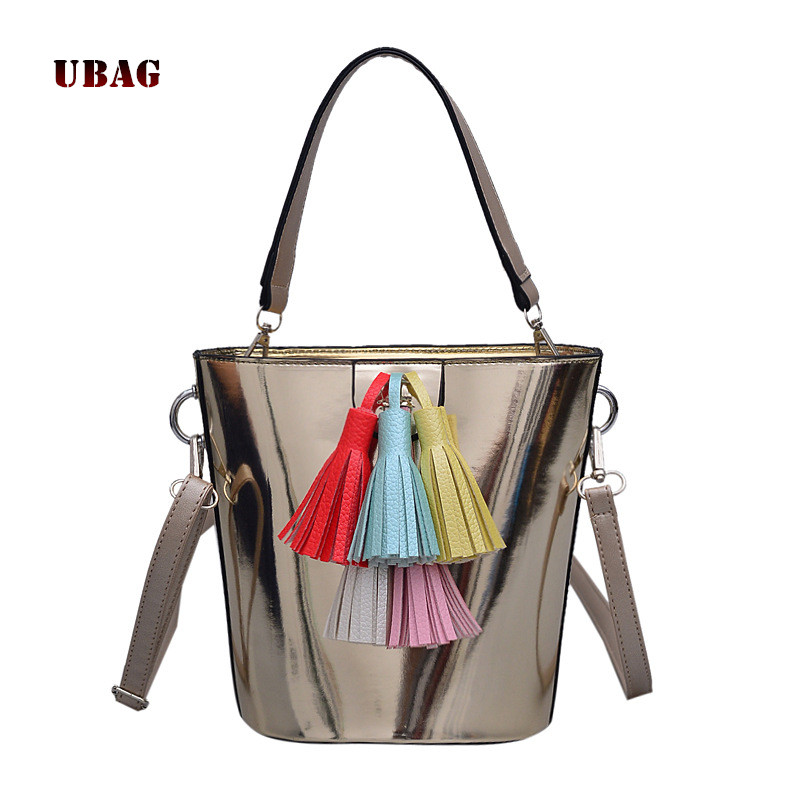 где купить mirror patent leather women bag 2018 tassel Flap wide shoulder messenger bag shoulder bag matte Pu leather handbag Bucket bags по лучшей цене
