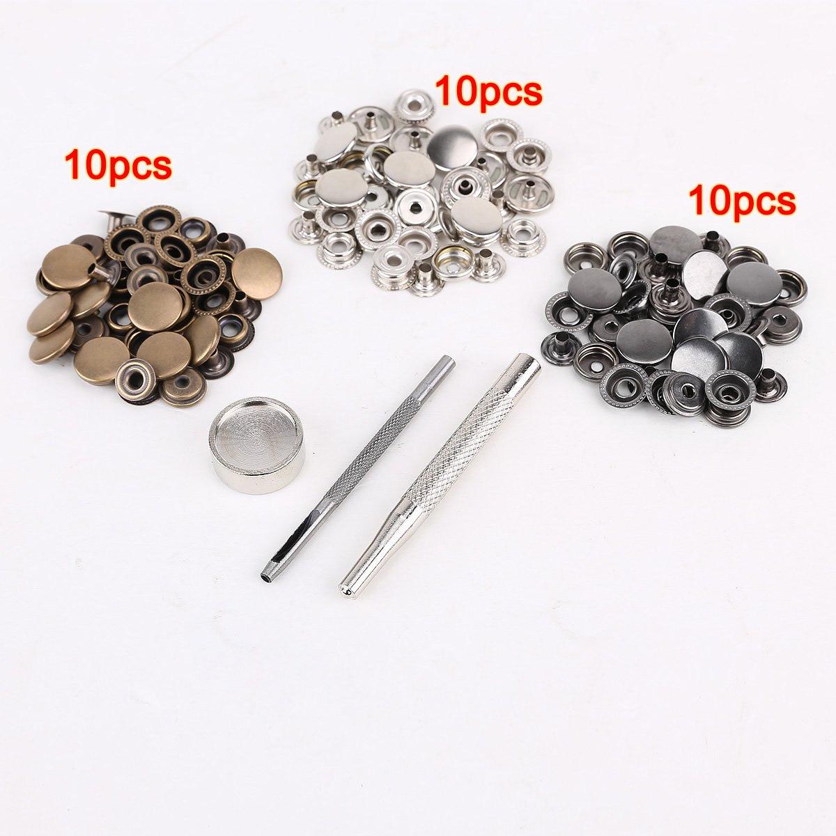 Hot Sale 25pcs Silver 25 Pcs Bronze 10mm Snap Button Metal Tool Set For Leather Handbags Fast Color