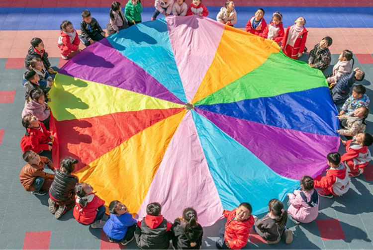 [Best] Sports Game 2M/3M/4M/5M/6M Diameter Outdoor Rainbow Umbrella Parachute Toy Jump-Sack Ballute Play Game Mat Toy Kids Gift