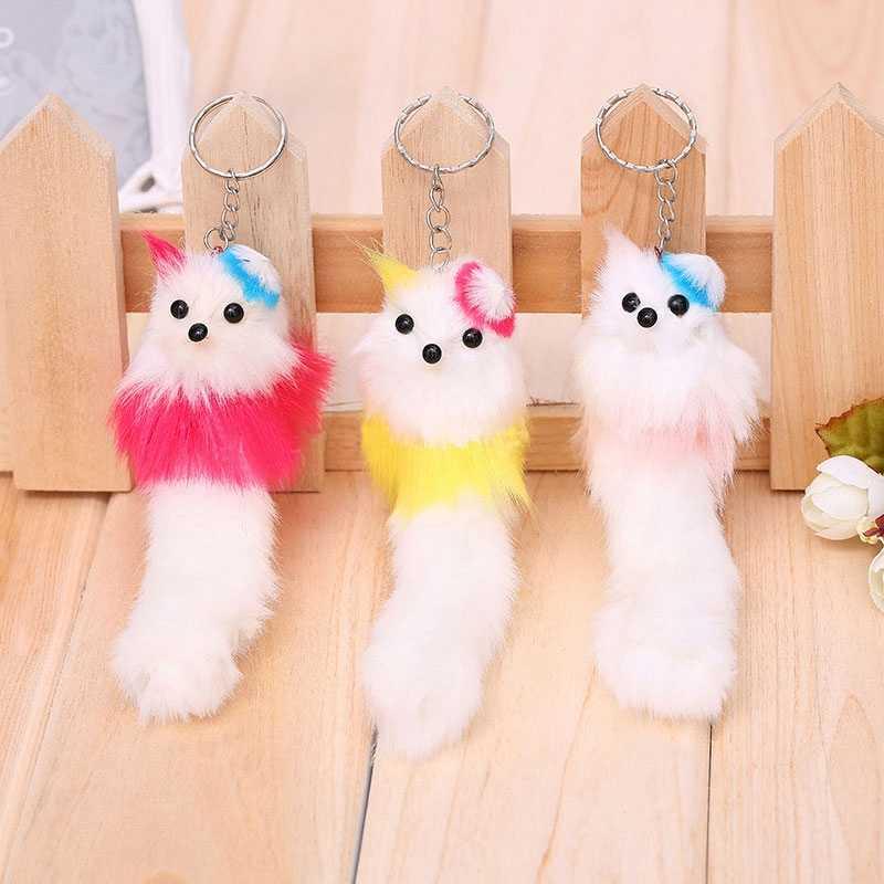 ตุ๊กตาพวงกุญแจของเล่น Kawaii Peluche Fox ตุ๊กตาเด็กของเล่นตุ๊กตาขนปุย Pom Pom ตุ๊กตาสัตว์น่ารัก Key แหวนจี้ TOY140-1