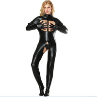 S 5XL 2018 New Arrival Women Black Sexy Lingerie Leather Fetish Open Bust Bodysuit Sexy Crotchless PVC Latex Up Crotch Jumpsuit