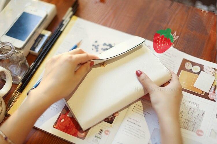 PU leather spiral loose leaf refillable travel journal White dokibook fastener notebook filofax planner agenda notepad binder A6 цена