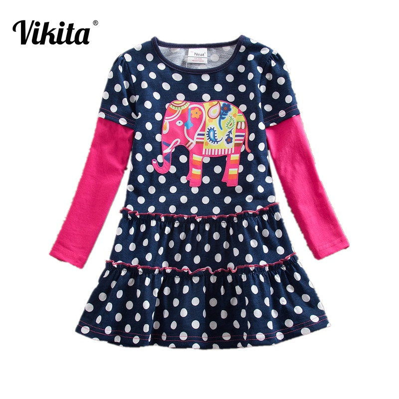 VIKITA Baby Girls Dress Toddlers Animal Cartoon Long Sleeve Princess Dresses Children Clothing for Kids Patchwork Dress LH605 lace short sleeve patchwork kids dresses for girls 2018 baby girls dress summer princess dress baby children clothing 10 12 14 y
