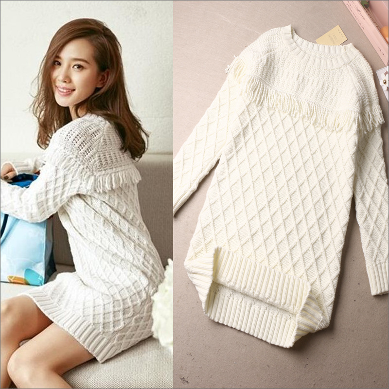 Knit Cardigan 2017 Fall Ladies Plaid Patchwork Round Neck Tight Long Sleeve Pullover Sweater Dress
