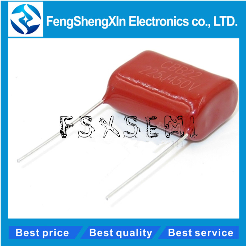 10 pcs/lot 450 V 2.2 uF CBB film polypropylène condensateur pas 20mm 225 2.2 uF 450 V CBB22 225J450V