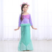 New Halloween Girl Mermaid Dress Stage Performance Evening Sequin Childrens Wear Princess