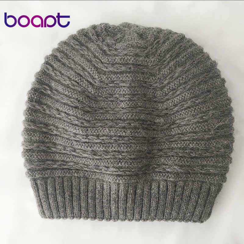 [Boapt] 앙고라 토끼 소프트 더블 레이어 니트 두꺼운 보닛 여자 겨울 모자 여성용 모자 레이디 스컬리 Beanies 여성 모자
