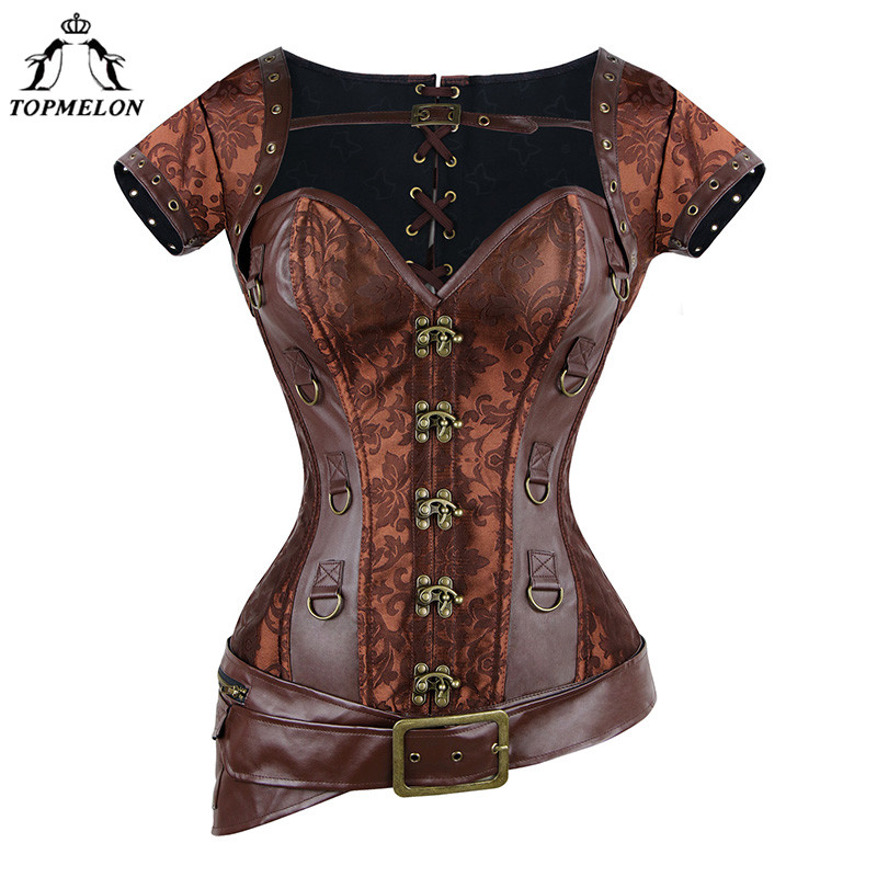 TOPMELON   Corset   Steampunk   Bustier   Gothic   Corset   Women Corselet Sexy   Corset   Retro Leather Short Sleeve D Ring Buckles Tops 6XL