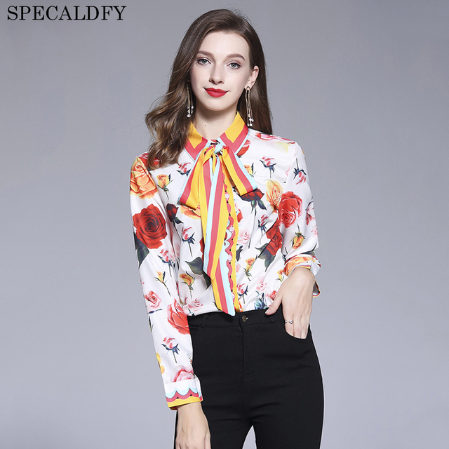 6e8d8a70f75 2018 Runway Designer Tops High Quality Women Fashion Floral Printed Long  Sleeve Shirt Womens Tops And Blouses Vintage Shirts