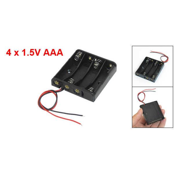 OPQ-черный 4x1,5 V AAA батареи держатель Чехол w провода