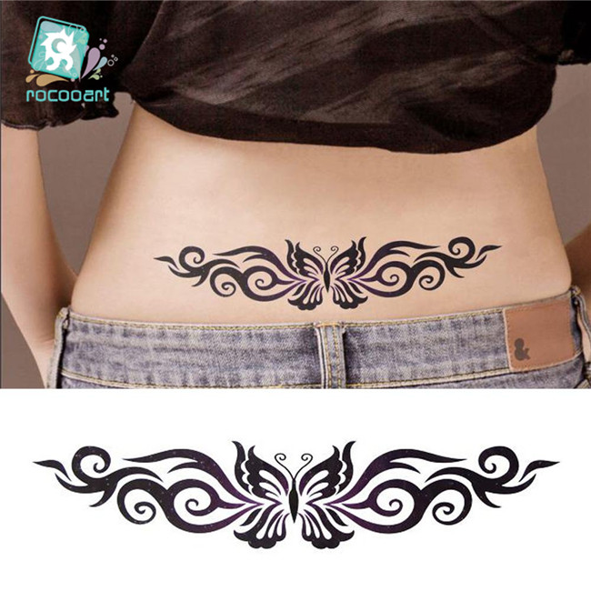 Hot 2019 Black Butterfly Flower Tattoo Design Temporary Tribal Body Tattoo Sticker Arm Leg Belly Tattoo For Women Waterproof
