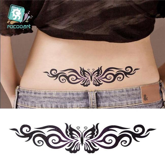 Hot 2020 Black Butterfly Flower Tattoo Design Temporary Tribal Body Tattoo Sticker Arm Leg Belly Waterproof For Women