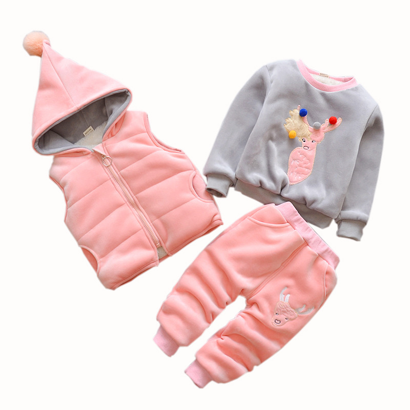 77172add6cd9f3 2018 Girl Boy 3pcs Clothing Set Unisex Cute Cartoon Hooded Regular Jackets Pant  Winter Warm Children