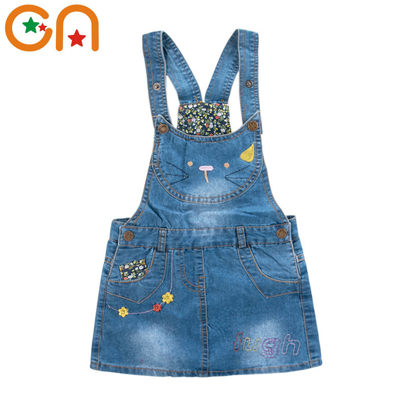2-7 yrs Summer New Denim Sundress Girls Cute Fashion Kitty embroidery Flowers Styles cowboy strap Dress Sleeveless baby Kids CN