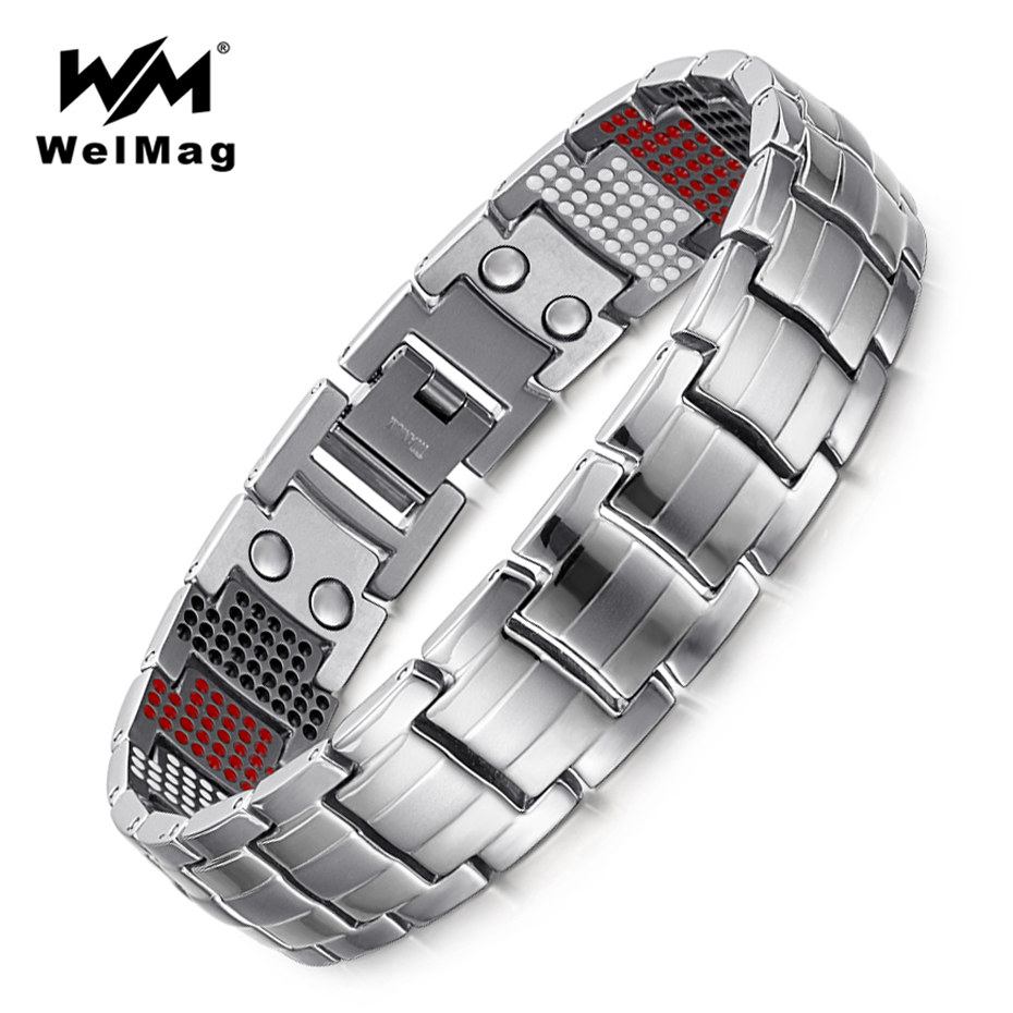 WelMag Men's Trendy Magnetic Bracelets Bangles for Health Charm multi elements Germanium Titanium Bracelet Dropshipping 2018 trendy top white ceramic bracelet elegant star health care titanium bracelets