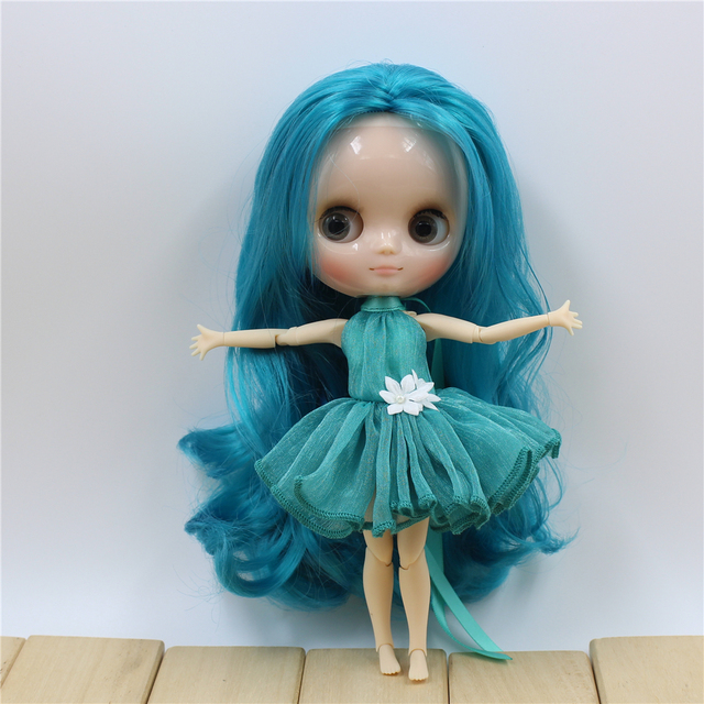ICY Nude Factory Middie Blyth doll Cyan hair without bangs Transparent skin Neo BJD No.4302