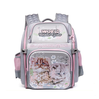 Cartoon Cat Dog Waterproof Nylon Orthopedic Backpack Children School Bags For Teenager Girls Book Bag School Knapsack 1 4 Grade