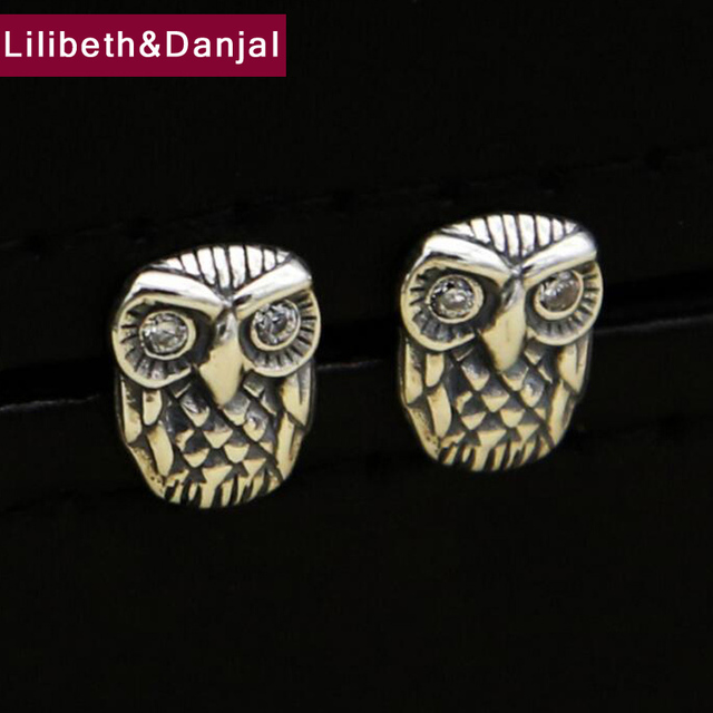 36d86a88e 925 Sterling Silver Stud Earring Men Jewelry Vintage Owl Crystal rhinestone Earring  Women Gift Fine Jewelry E1