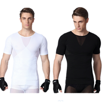 Black/white Mens Body Slimming Shaper T shirt Mens Body Slimming Shaper Belt belly band body mesh Sweat Shorts Underwear