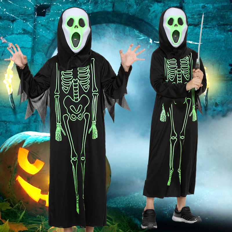 kid adult black night Luminous Skeleton Cloak costume Ghosts Zombie Vampire Demon Devil Unisex Halloween Cosplay costume mask