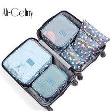 6 шт./компл. модные водонепроницаемые мужские и женские багажные дорожные сумки с двойной молнией