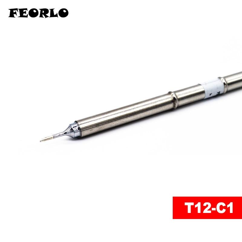 FEORLO 4pcs T12-C4 T12-BC1 T12-C1 T12-D12 Soldering Iron Tips T12 series for Hakko FX-950/FX-951 free shipping