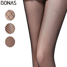 BONAS Hot Sell Women Open Crotch Fishnet Tights Sexy Diamond Mesh Nylon Pantyhose Lady Black Breathable Hollow Stockings Female