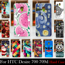 Para o caso de htc desire 700 709d 7060 7088 plástico rígido caso tampa do telefone móvel diy cor paitn celular saco shell