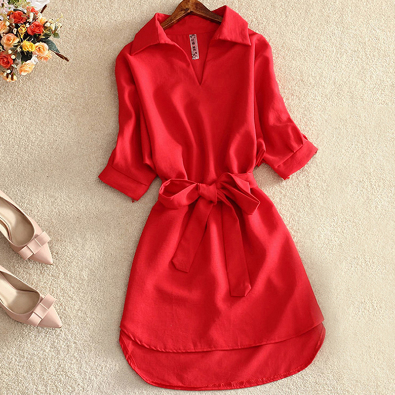 Women Long   Shirt     Blouse   2019 Summer Casual Dress Solid Red Chiffon Tops For Women Ladies Tunic Blusas Chemisier Vestidos Femme
