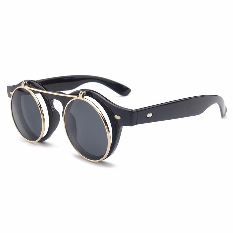 8b75f03e22 Oulylan Steampunk Retro gafas de sol hombres mujeres clásico flip doble  ronda de gafas de sol