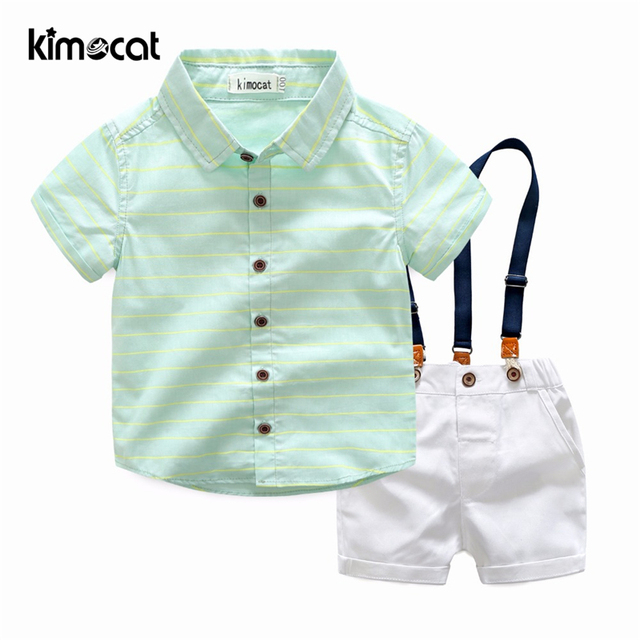 Kimocat Boys Set 2pcs Shirt+Overalls Debonaire Cotton Kids Children's Clothing Baby Boys Clothes Cute Short Sleeve Costumes Sets