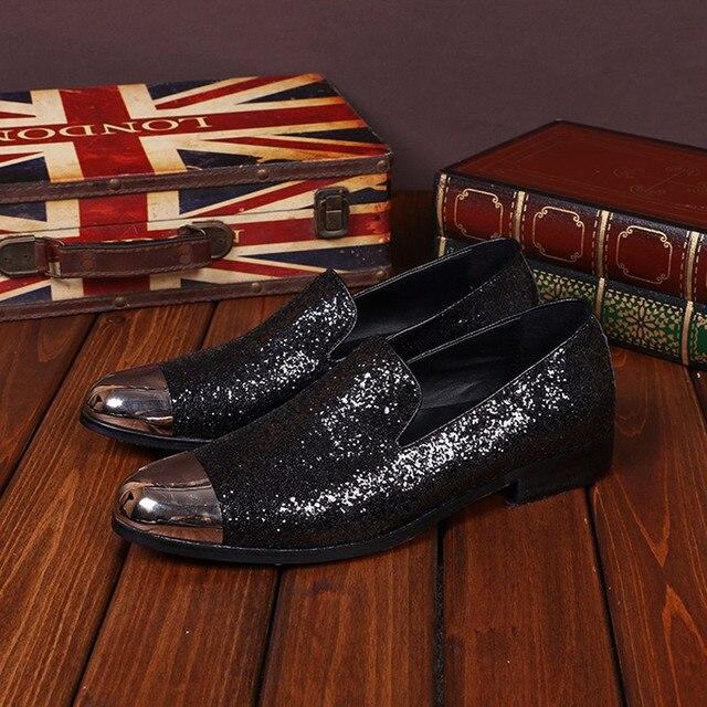 De Zapatos Genuino Hombres Glitter Planos Christia Bella Cuero xIqC4Rn