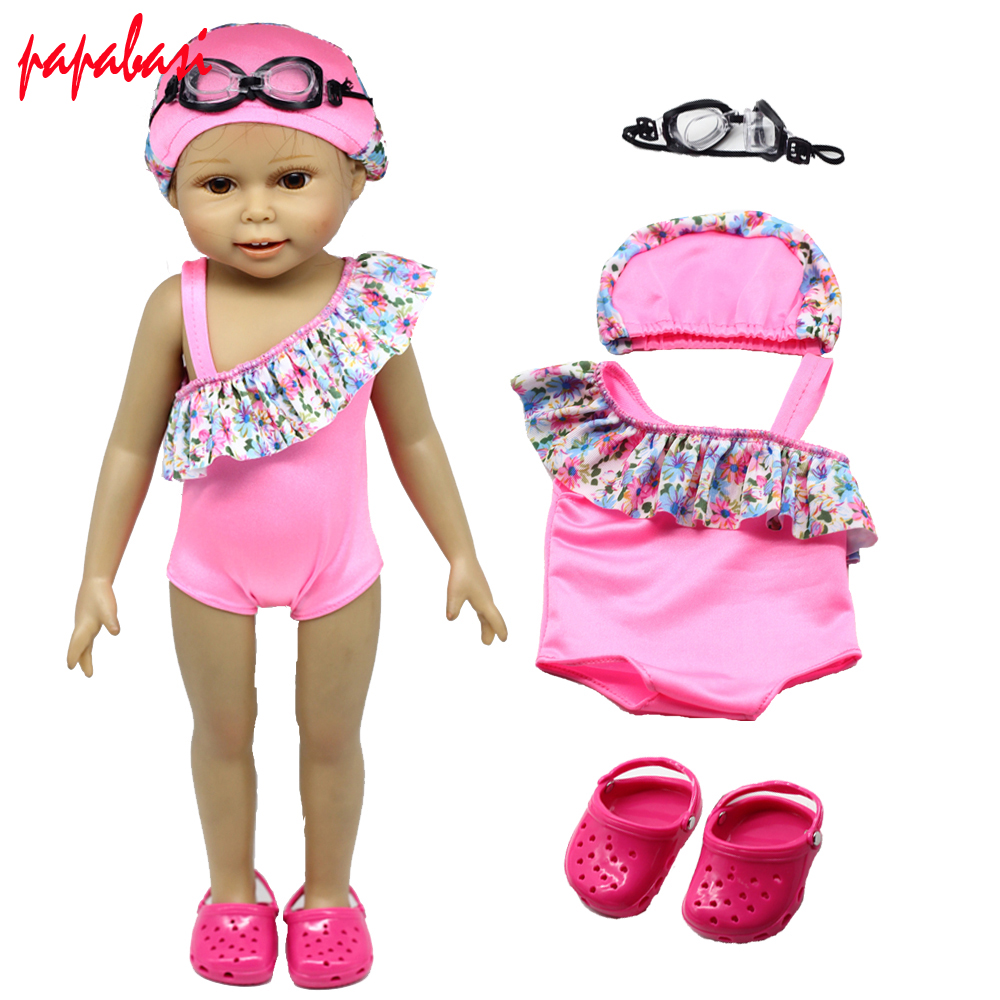 1set=swim dress + sandals + swimming goggles Fits 18 American Girl dolls  Clothes Christmas gift