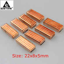 Wholesale 8pcs/set  22x8x5mm Copper Heatsink Heat Sink for DDR VGA RAM Memory IC Chipset цена 2017