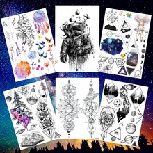 25 Style Astronaut Temporary Tattoo Sticker Cosmos Universe Waterproof Fake Flash Tattoo Stickers Outer Space Men Women Body Art