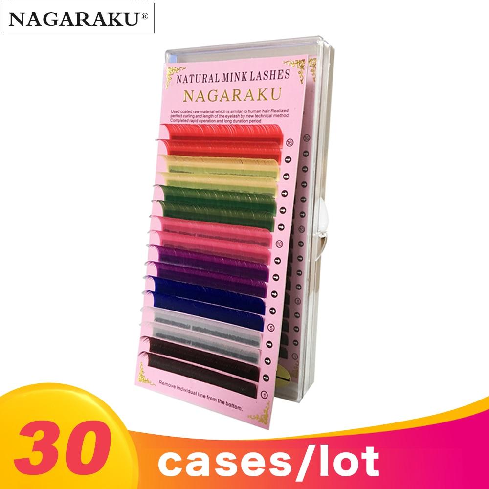 Beautiful NAGARAKU 30 cases color lashes 16rows/tray  8 Colors  rainbow Colored Eyelash Extension  color Eyelashes colorful-in False Eyelashes from Beauty & Health    1