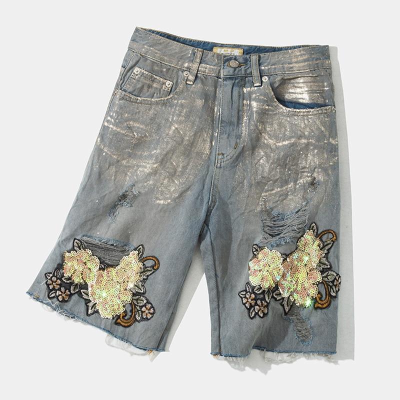 Lentejuelas Cortos Arrancó Mujer Denim Agujero En Caliente Vaqueros Con Moda Para Estampado Casual Bordado Pantalones De Verano 8txqHv87