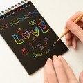 20 unids Mágico Colorido Tablero de Dibujo Pintura Raspado De Papel Niños aprendizaje Educativo Juguetes Doodle de Pintura Rasguño Juguetes 10x14 cm
