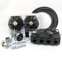 12V 24V A/C Air Conditioner Evaporator Radiator Compressor kit for Muscle Car Truck Van Tractor Digger Backhoe