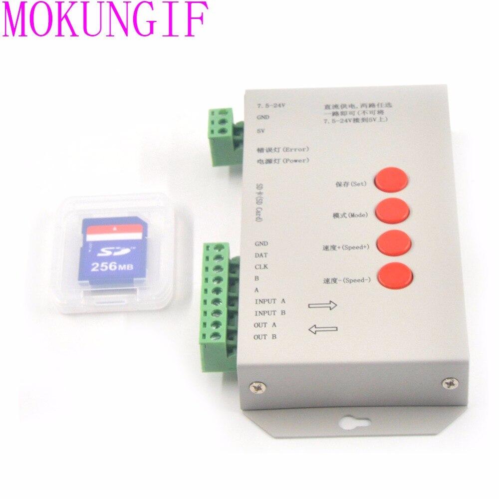 DC5V-24V T1000S SD Card LED Controller Pixel Led Control 2048 Pixel Controller with SD CardSupport DMX512 ws2811 RGB Controller arlight контроллер hx 801sb 2048 pix 5 24v sd card
