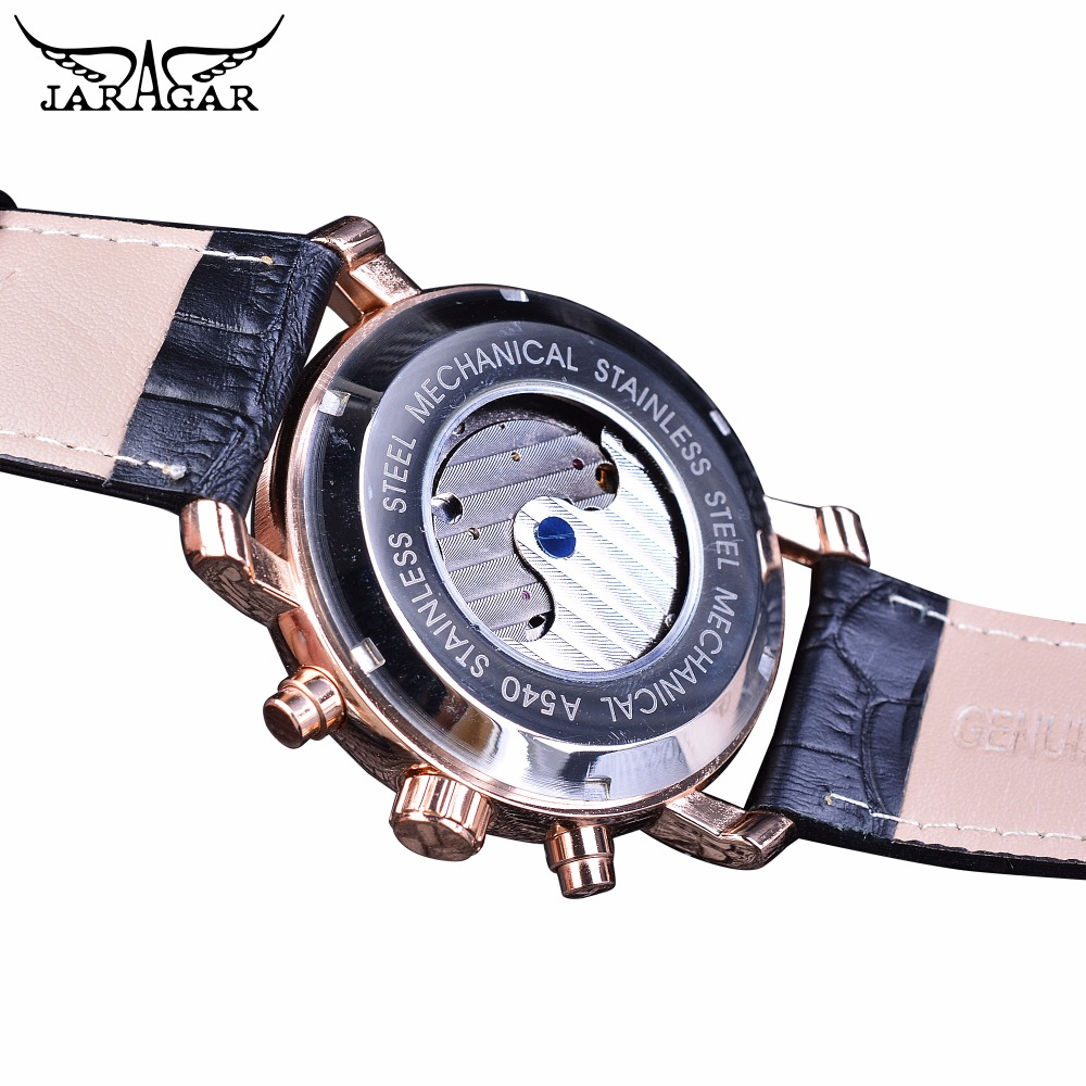 Jaragar Rose Golden Tourbillon Business Men Watches Automatic Self Wind Date Year Genuine Leather Strap Mechanical Reloj Hombre in Mechanical Watches from Watches
