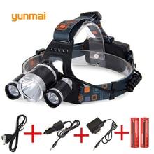 Powerful 12000 Lumen 3*Cree XML-L2 Headlamp Headlight Head Lamp Light Flashlight Rechargeable Lantern Fishing Hunting Lights