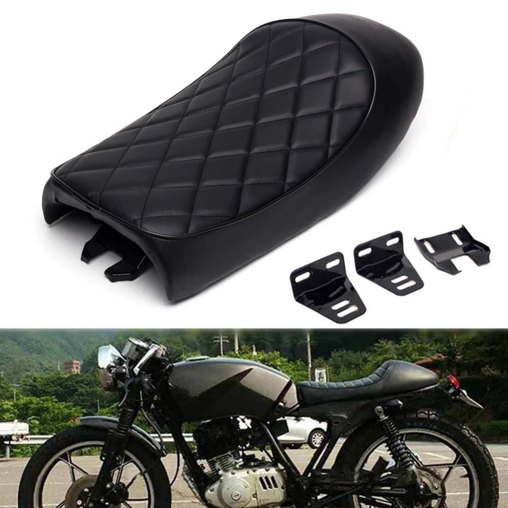 Triclicks Black Brown Cafe Racer Vintage Saddle Hump Custom Seat Motorcycle Vintage Cafe Racer Seats For Honda CB350 CB450 CB750