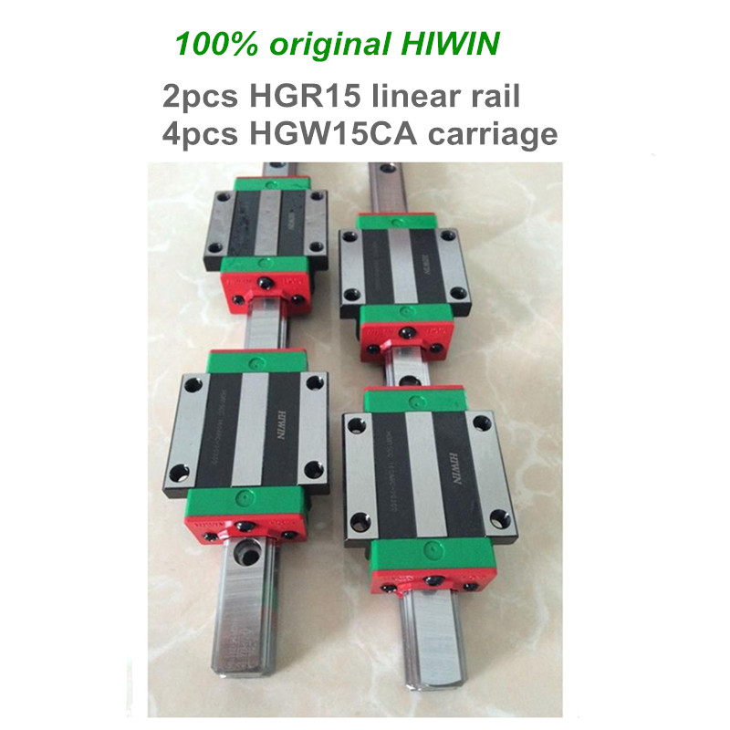 2 pcs HIWIN linear guide HGR15 - 200 250 300 mm Linear rail with 4 pcs HGW15CA linear bearing blocks for CNC parts цена и фото