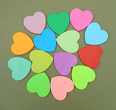 Fargerikt hjerte klebrig Brevpapir Stickerer Bookmarker Heart Shape Notatblokk Sticky Notes Meldingsblokk sticker flerfarget